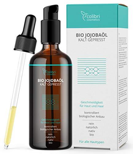 Bio Jojobaöl Kaltgepresst - 100% rein - für gesunde Haare, weiche Haut und starke Nägel - Auch für Gesicht geeignet - 100ml in Lichtschutz Glasflasche - nativ, made in Germany, von colibri cosmetics
