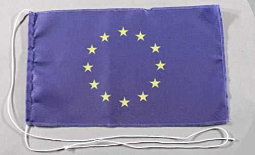 Buddel-Bini Europa Flagge Europaflagge EU 15x25 cm Tischflagge in Profi - Qualität Tischfahne Autoflagge Bootsflagge Motorradflagge Mopedflagge