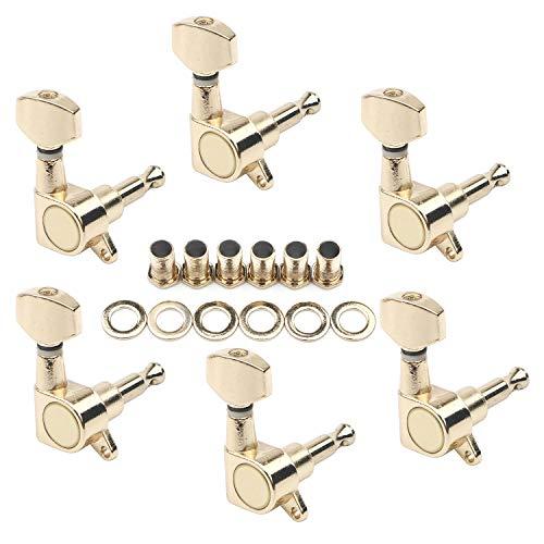 Unxuey 6R Stimmwirbel für Gitarre, halb-geschlossen, goldene Saiten, Stimmwirbel, Knöpfe für elektrische oder akustische Gitarre