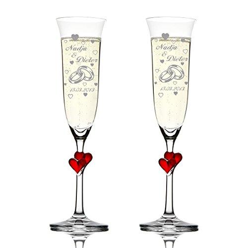 polar-effekt 2er Set Hochzeitsgeschenke Personalisiert - Sektgläser graviert mit Namen und Datum – Sektkelche mit roten Herzen 175 ml - Geschenk zur Hochzeit - Motiv Zwei Ringe mit vielen Herzen