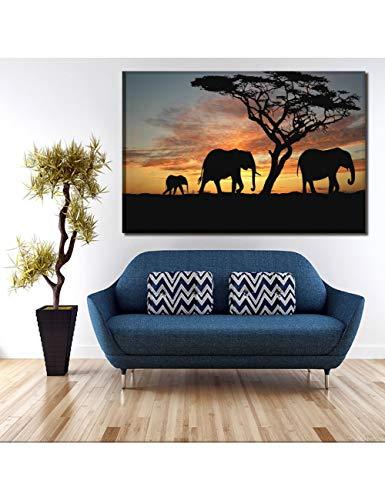 FHBDFJT, geen lijst, 4 stuks/1 stuk Savanna olifant en zonsondergang landschap afbeelding wooncultuur woonkamer muur kunstdruk fotolijst No Framed 60 cm x 90 cm x 1 stuks.
