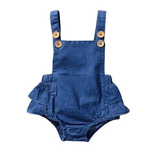 Fossen Bebe Peleles Patrón de Fox Monos para Recien Nacido Niña Niño 0-24 Meses Ropa Verano (18-24 Meses, Azul)