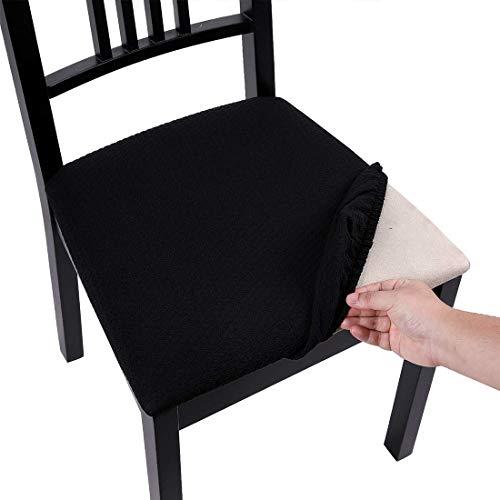 Homaxy Stretch Spandex Jacquard Esszimmerstuhl Sitzbezüge Stuhlhussen, herausnehmbarer waschbarer Anti-Staub Esszimmerstuhl Sitzkissen Hussen - 4er Set, Schwarz