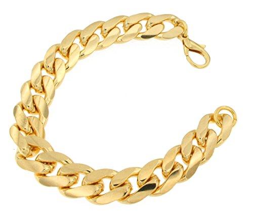 Schweres Panzerarmband Gold Doublé 14,5 mm 23,5 cm, Armband Herren-Armband Goldarmband Damen Geschenk Schmuck ab Fabrik Italien tendenze