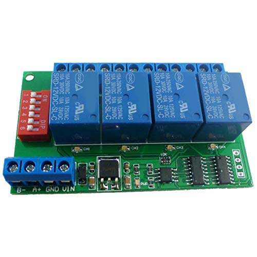 CESULIS 4 Channel DC 12V RS485 Relay Module Modbus RTU and at Command Remote Control Switch for PLC PTZ Camera Monitoring