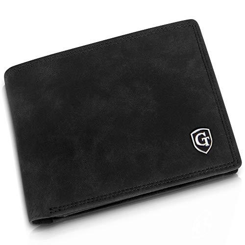 Manhattan Geldbörse mit Münzfach - TÜV geprüfter RFID, NFC Schutz - geräumiges Portemonnaie - Geldbeutel für Herren und Damen - Portmonaise inkl. Geschenkbox (Schwarz - Soft)