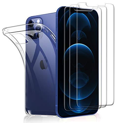 SHINEZONE 3 Stück+Hülle, Panzerglas und Handyhülle für iPhone 12 Pro Max 6.7 Mit 9H Härte Anti-Kratz, Anti-Öl und blasenfreie Handy-Schutzfolie, Hülle Genaue Lochposition, Kompatibel mit Hülle