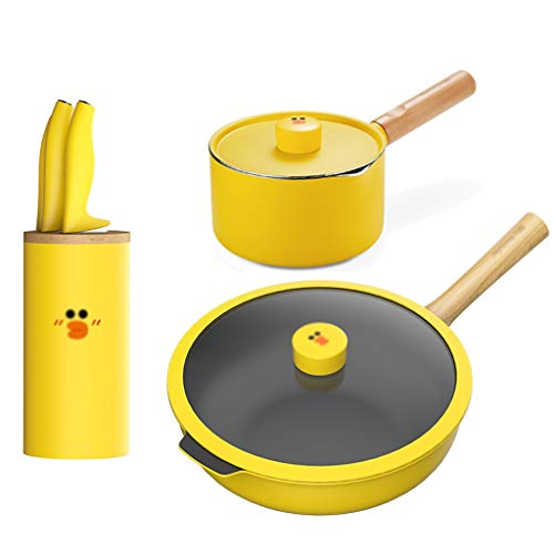 LEPSJGC Juego de utensilios de cocina juego de ollas para el hogar completo juego de utensilios de cocina de tres piezas juego de ollas antiadherentes de cocina(Sin cuchillo) (Color : A)