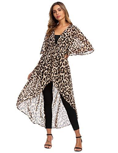 Blooming Jelly - Traje de baño para mujer, estampado de leopardo, asimétrico, largo Estampado De Leopardo M