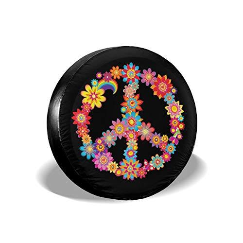 Foruidea Funda de repuesto para neumáticos de repuesto con diseño de flores de paz coloridas, impermeable, a prueba de polvo, UV, para Jeep, remolque, RV, SUV y muchos vehículos de 15 pulgadas