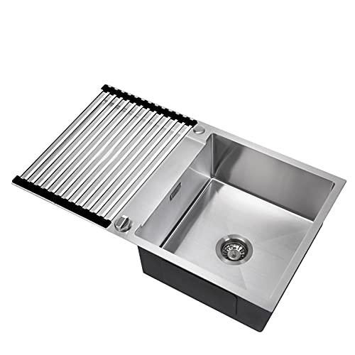 CECIPA Fregadero de cocina con escurridor 78*50 acero inoxidable escurridor fregadero egadero de cocina negro (sin grifo, Acero)
