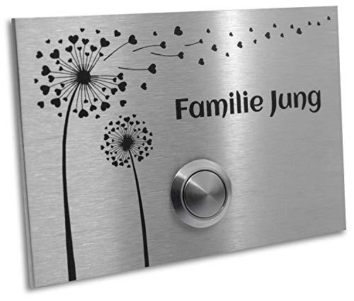 Jung Edelstahl Design Edelstahl Türklingel Klingelplatte London 002 mit Blume und LED Taster Gravur 120 X 80 X 3 mm Klingel Klingelschild (ohne LED)