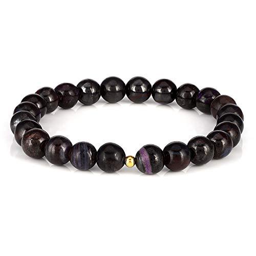 NirvanaIN Natural Sugilite Bracelet, Handmade Gemstone Smooth Round 7-8mm Beaded Stretch Bracelets Semi-Precious Jewelry for Unisex