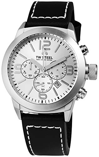 TW Steel Herrenuhr Silber Schwarz Analog Chronograph Datum Edelstahl Echt-Leder Quarz Armbanduhr