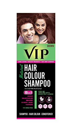 VIP Natural Hair Colour Shampoo, Brown, 180 ml
