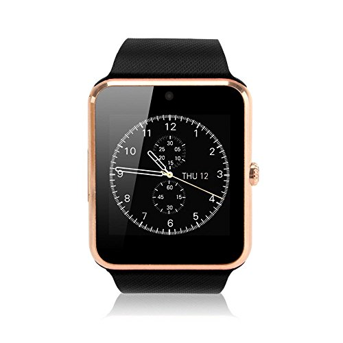 Pandaoo Smart Phone Watch with Universal Unlocked GSM HD LCD Camera Fitness Tracker Bluetooth Mate for Android Smartphones(Gold,Black Band)