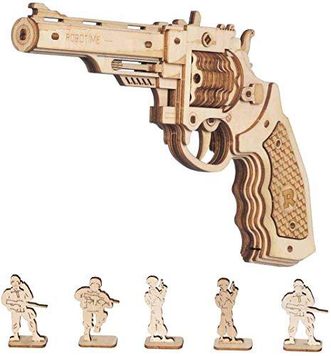 Robotime Toys Gun - Kit Modello di Edificio Meccanico Puzzle in Legno 3D per Bambini di 14 Anni (Corsac M60)