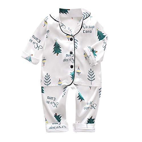 iLOOSKR Toddler Kids Baby Boys Girls Cute Cartoon Animal Printed Tops with Pants Soft Silk Pajamas Sleepwear Outfits White