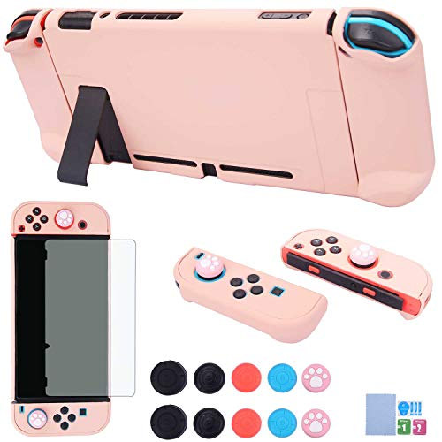 Dockable Case for Nintendo Switch - COMCOOL 3 in 1 Protective Cover Case for Nintendo Switch and Joy-Con Controller with Screen Protector and Thumb Grips - Pink