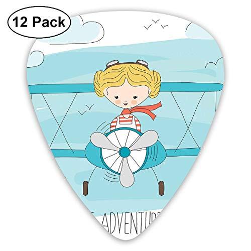 Gitaar Picks12 stks Plectrum (0,46 mm-0,96 mm), schattig meisje vliegen een vliegtuig op Sky Cartoon kind droom verbeelding, voor uw gitaar of Ukulele
