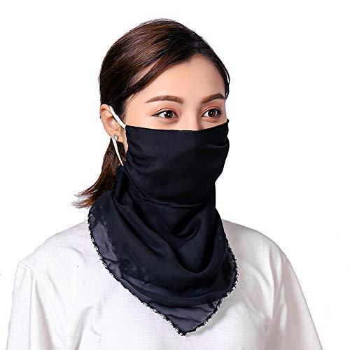 2 Stks Vrouwen Hoofdband Bandana Hoofddeksels Nek Sjaal Multifunctionele Chiffon zijden sjaal Snoods, Beschermende StofbeschermingUV Ademende Gezicht Cover voor Outdoor Activiteiten