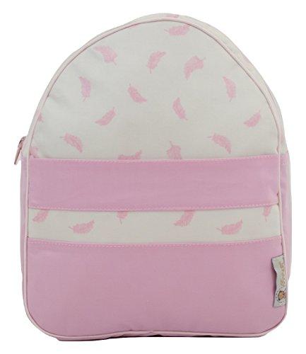 Mochila o bolsa infantil plastificada para colegio o guardería. Modelo little nordic. Plumas rosa