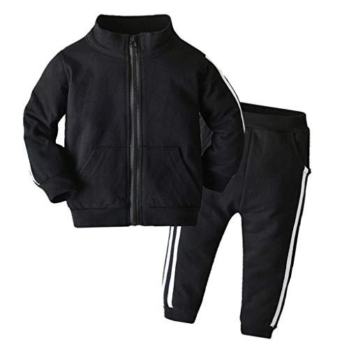 XXYsm Baby Mantel Outfits Jungen Jacke Lange Ärmel Tops + Hosen Sport Coat Bekleidungsset Outwear Kleidung Set (Schwarz A, 70/0-6 Monate)
