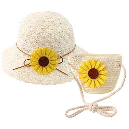 KESYOO Kinder Sommer Strohhut Blume Strohsack Breite Krempe Floppy Strandkappe Weben Umhängetasche für Mädchen Und Kinder