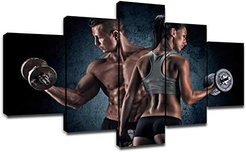 YINGYING murando Quadro Fitness Sport Pittura su Tela Wall Art Wall Decor 5 Pezzi Decorazione Bodybuilding Women Bodybuilder Poster