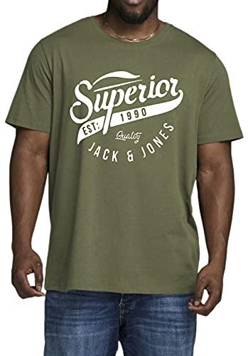 Jack and Jones - Camiseta de manga corta para hombre (tallas 3XL a 6XL), Olive Night 286, 5XL