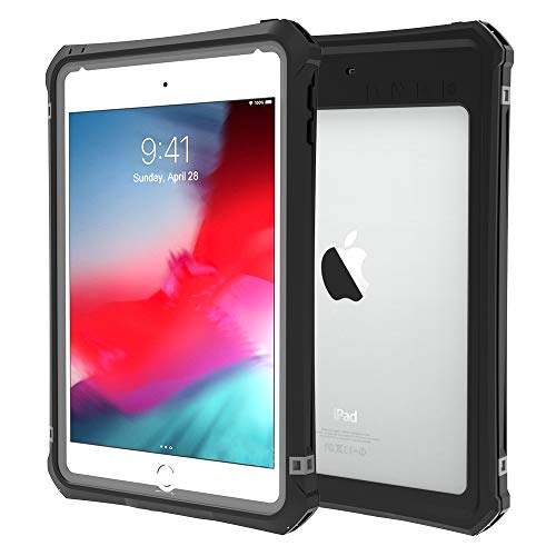 ShellBox Case iPad Mini 4/5 Waterproof Case, Protective Full Body Shockproof Dustproof Cover Case with Adjustable Tablet Stand Built-in Screen Protector for iPad Mini 5/iPad Mini 4 Case(Black)