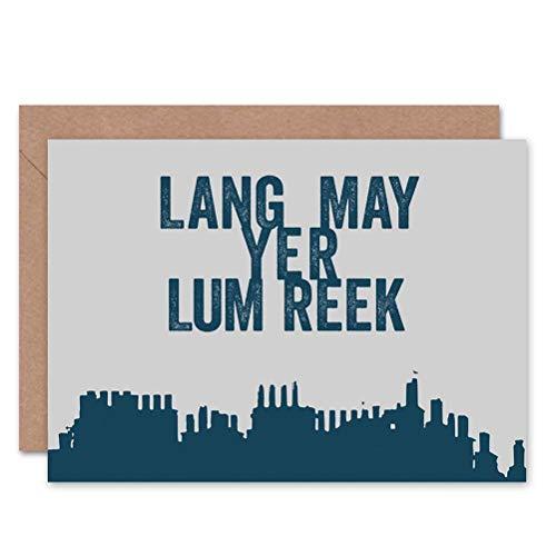 Wee Blue Coo Quote Scots Saying Lang Lum Reek Hogmanay Scotland Sealed Greeting Card Plus Envelope Blank Inside Zitat Schottland