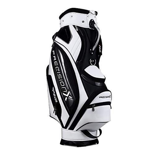 QJXB PU wasserdichtes Material Golftasche Große Kapazität Golf Club Bag Leicht Golfwagen Tasche mit 5-Fach Unterteilung en Separate Schuhschicht,White-46 * 26 * 130cm