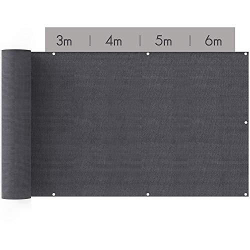 suntura® Balkon Sichtschutz [90x500cm] | inkl. Kabelbinder und Seil | UV-Schutz | Windschutz | Leicht Transparent | Balkonsichtschutz auch für Terrasse & Zaun