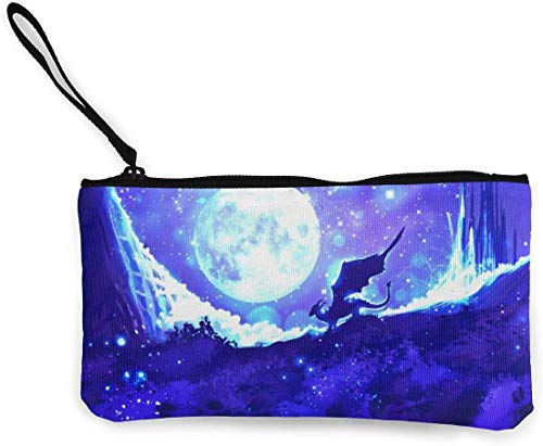 Nachthemel hemel fantasie maan draak portemonnee (canvas rits make-up zakes) met armband mobiele telefoon zakje