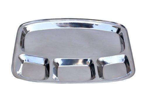 Insideretail–Vassoio Thali Indiano Rettangolare in Acciaio Inox con 4Scomparti, Argento, 35x 32x 2,5cm, Confezione da 12