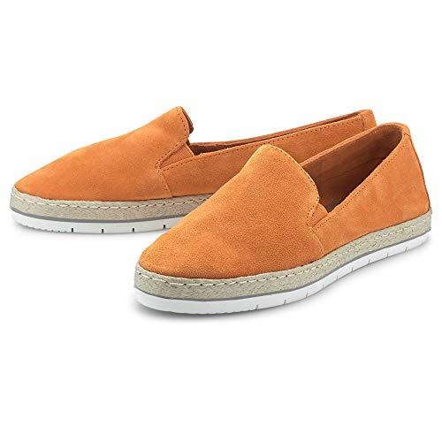 Cox Damen Velours-Slipper Orange Rauleder 39
