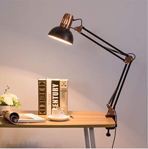 Retro-Design Schreibtischlampe mit Klemme aus Metall, schwenkbar, E27, Leselampe, Architektenlampe, für Zug, Studium, Nachttisch, Büro, Schwarz