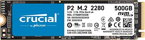 Crucial P2 500GB 3D NAND NVMe PCIe M.2 SSD Up to 2400MB/s - CT500P2SSD8