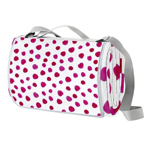 Vito546rton Impermeable portátil al aire libre acuarela rosa lunares rojo impresión picnic manta Mat con correa para acampar senderismo hierba viajes 57x59in