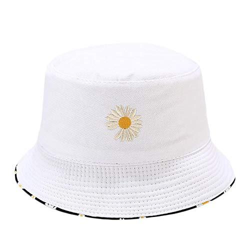 Fablcrew Chapeau Bob Pecheur en Motif de Broderie Marguerite Chapeau de Soleil Double Face Pliable Anti-UV Protection Été pour Femmes Hommes