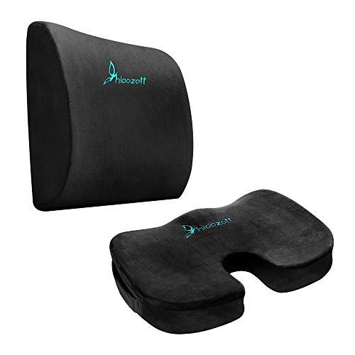 FOOUS Hioozott zitkussen Coccyx Orthopedisch Memory Foam en Lumbar ondersteuning kussen voor bureaustoel en autostoel - Ultieme Comfort Set verlicht rugpijn, staartbeen pijn, Sciatica kussen