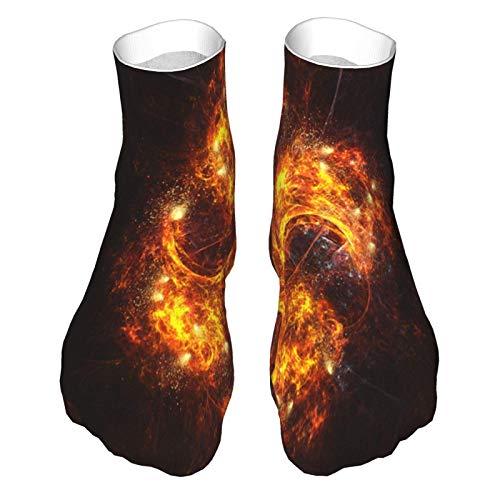 Calcetines de corte bajo que absorben la humedad, calcetines de tobillo deportivos casuales para mujer y hombre Spinning Fan Flame Soft Crew Socklk
