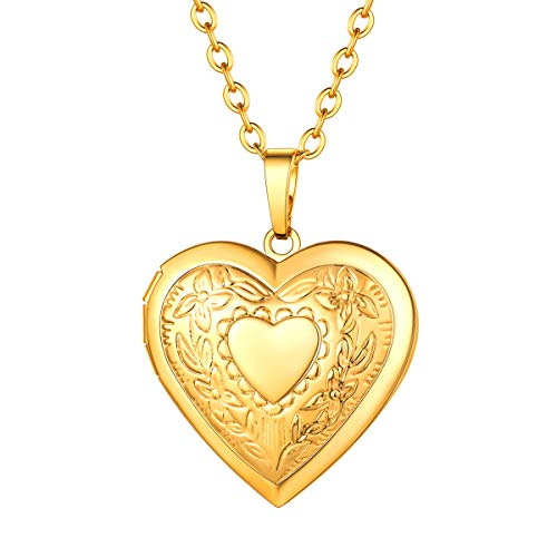 FOCALOOK Gold Locket Necklace That Holds Pictures Floral Pattern 18K Gold Plated Women Jewelry Heart Pendant Necklace Gifts