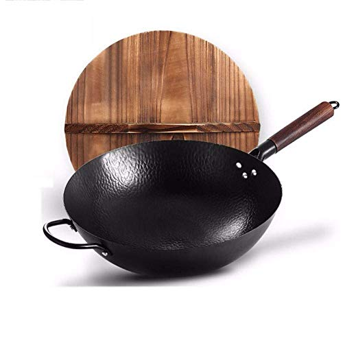 wsetrtg 14inch / 34cm Seasoned Flat Bottom Wok with Wood Lid Chinese Pow Carbon Steel Wok Traditional Chinese Wok Heavy Duty Frying Pan
