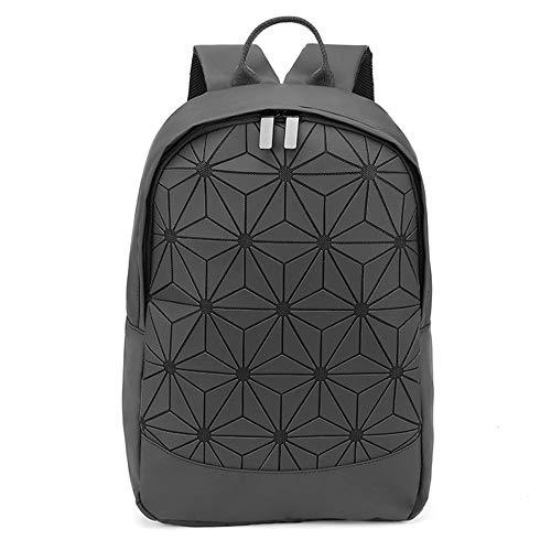 Orita Women Geometric Backpack Holographic Backpacks Lattice Design Backpack Travel Shoulder Bag Fashion Backpack Flower Black