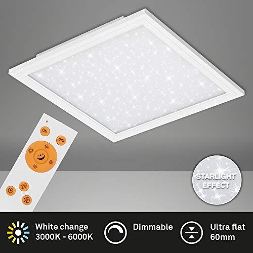 Briloner Leuchten - LED Panel, Deckenlampe inkl. Sternendekor, Deckenleuchte dimmbar, Farbtemperatursteuerung (CCT), inkl. Fernbedienung, 36 Watt, 3.800 Lumen, Weiß, 596x596x60mm (LxBxH)