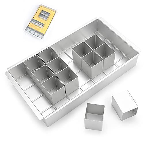 Zahlen & Buchstaben Kuchen Backform mit 12 Quadratischen Dosen zum Backen von Kuchen in Allen Buchstaben/Zahlen/Rechtecken/ Lego-Form,Backformen zum Geburtstag,Party(29cmx17cm,4x7Quadrate Gitterboden)
