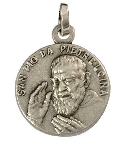 Medalla de San Pío de Pietrelcina (Padre Pio) de Plata de Ley 925 - Fabricada en relieve