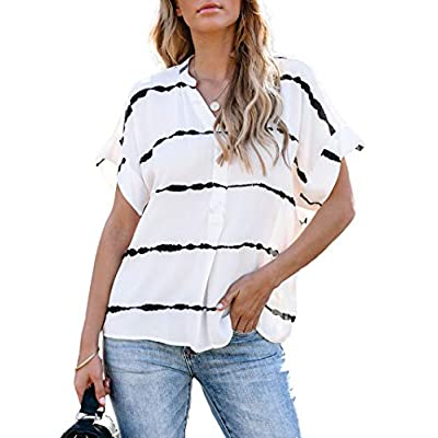 Women's V Neck Striped T Shirts Short Sleeve Casual Loose Summer Tee Tops